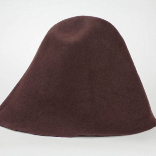 Chocolate brown 100% wool felt hood, made in US.