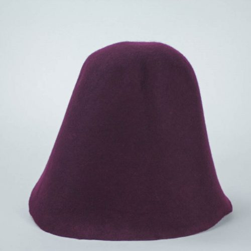 Purple plum 100% wool felt hood, made in US