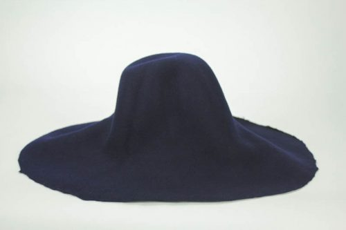 Navy blue capeline, 100% merino wool felt, made in US.