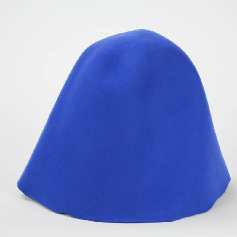 Bright blue 100% wool felt hood, or cone shape, made in China.