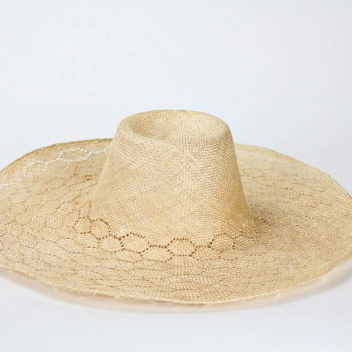 Honeycomb (six-sided) weave pattern with solid crown, 6-inch brim width x 19/20-inch diameter.