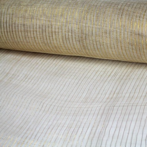 sinamay garnished with metallic gold pin stripe