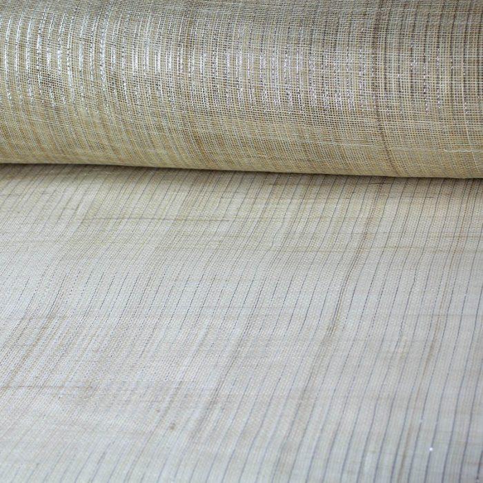 sinamay sinamay, garnished with metallic silver pin stripe