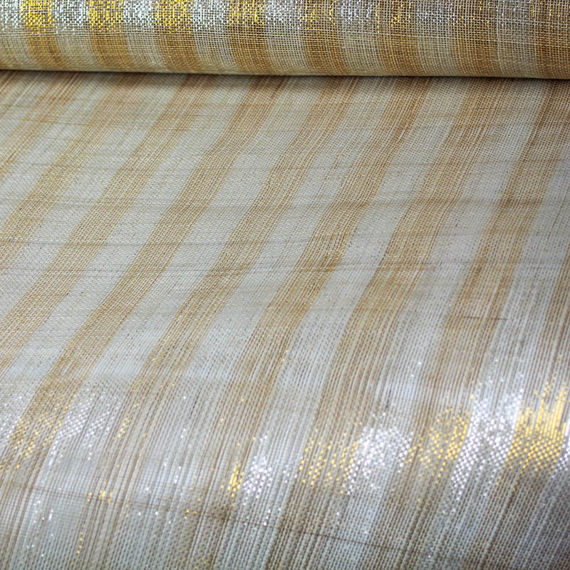 Natural Sinamay with one-inch wide metallic stripes in gold and silver.