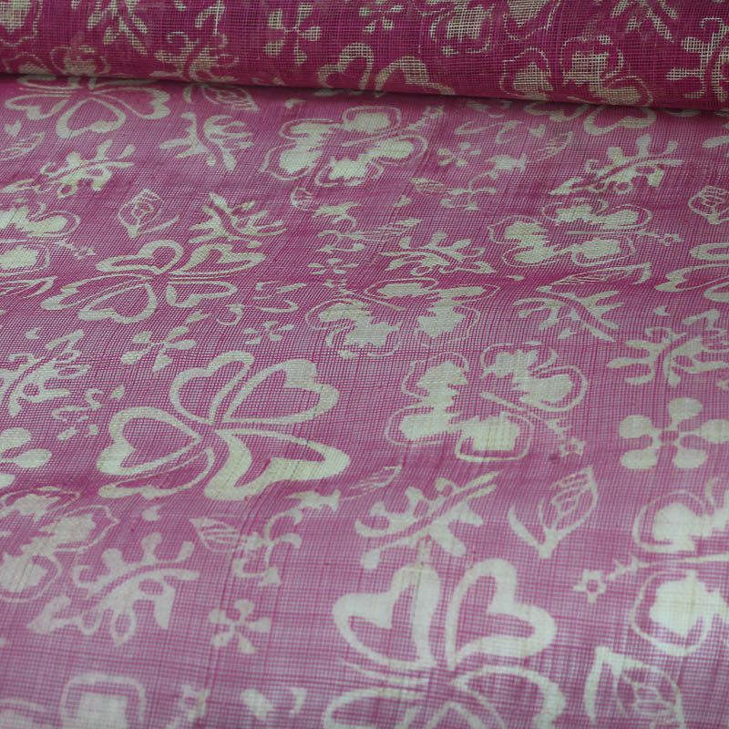 Tropical floral print in fuchsia and natural sinamay