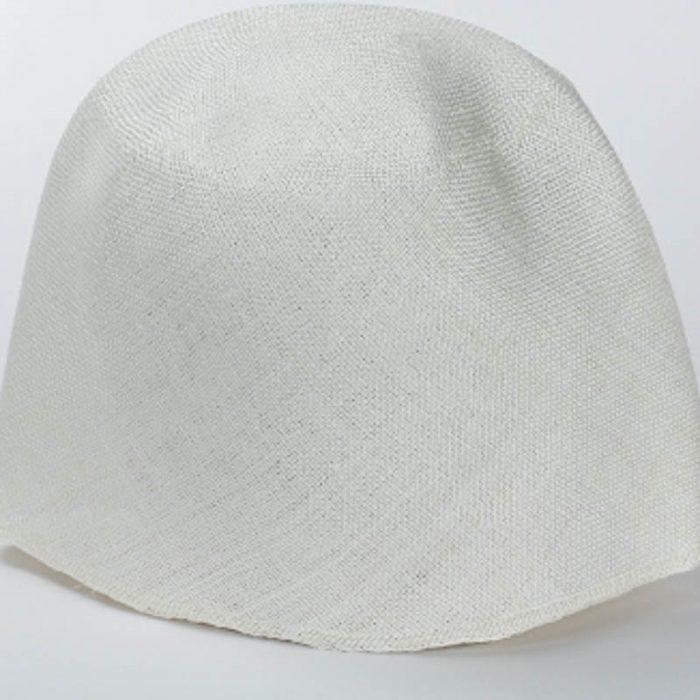 White Grade One Parasisal hood. Finely woven straw with sheen and ealsticity