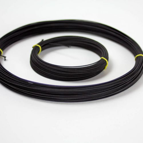 Rayon covered wire in black, #21 gauge (.71 mm) Used mostly in reinforcing hat brims and creating shapes and frames.