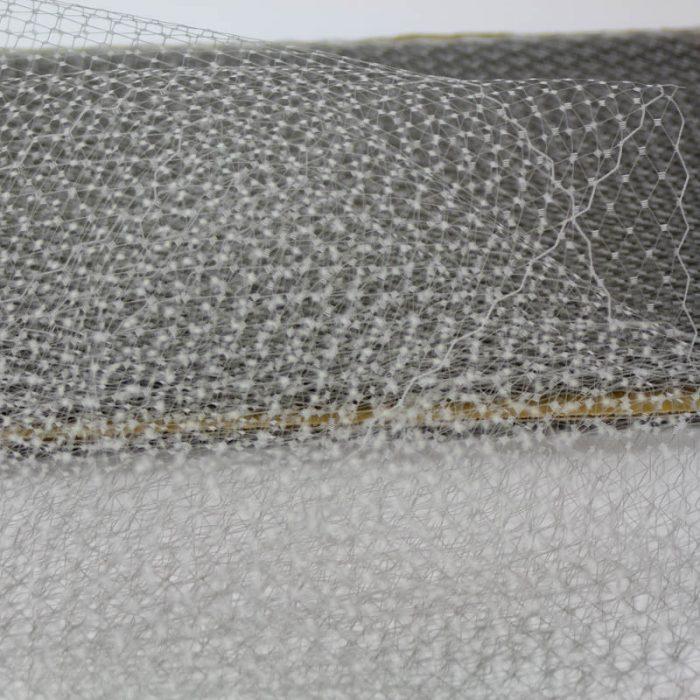 Grey Standard diamond pattern with 1/4 inch opening, 8-9 inch width, 100% nylon.