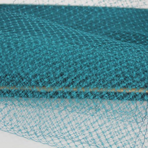 Teal blue Standard diamond pattern with 1/4 inch opening, 8-9 inch width, 100% nylon.