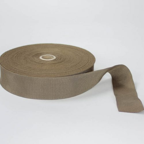 Taupe Brown. Made in France. Blend of 44% rayon/ 56% cotton grosgrain belting with a saw-tooth edge.