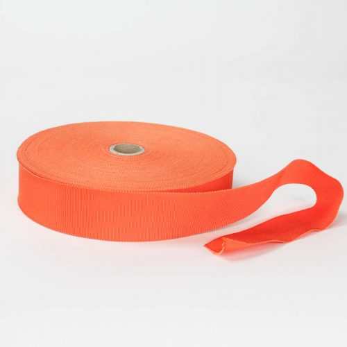Bright Orange. Made in France. Blend of 44% rayon/ 56% cotton grosgrain belting with a saw-tooth edge.