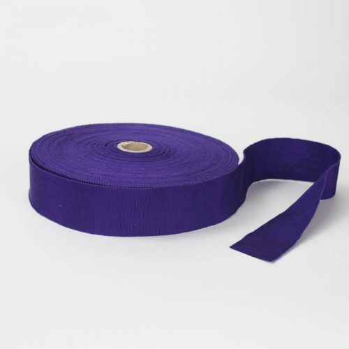 Blue Violet. Made in France. Blend of 44% rayon/ 56% cotton grosgrain belting with a saw-tooth edge.