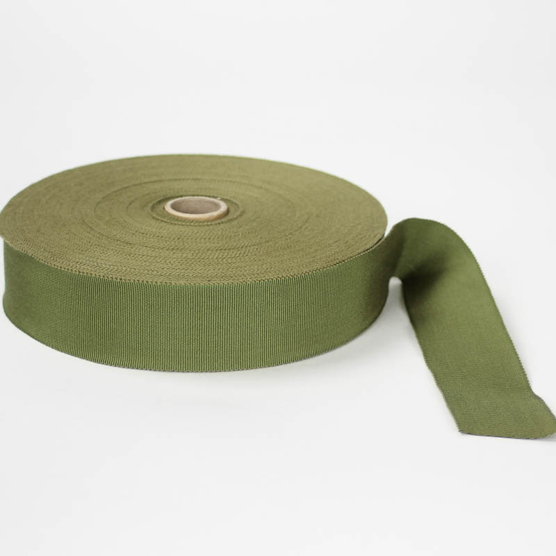 Olive Green. Made in France. Blend of 44% rayon/ 56% cotton grosgrain belting with a saw-tooth edge.