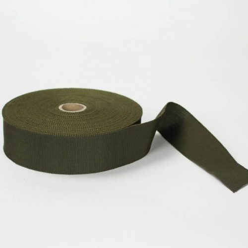 Loden Green. Made in France. Blend of 44% rayon/ 56% cotton grosgrain belting with a saw-tooth edge.