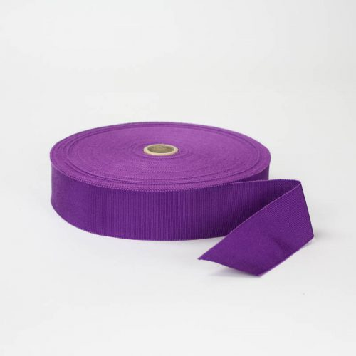 Red Violet. Made in France. Blend of 44% rayon/ 56% cotton grosgrain belting with a saw-tooth edge.
