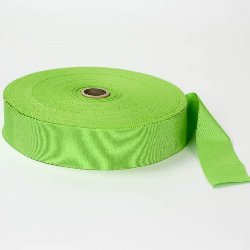 Lime Green. Made in France. Blend of 44% rayon/ 56% cotton grosgrain belting with a saw-tooth edge.