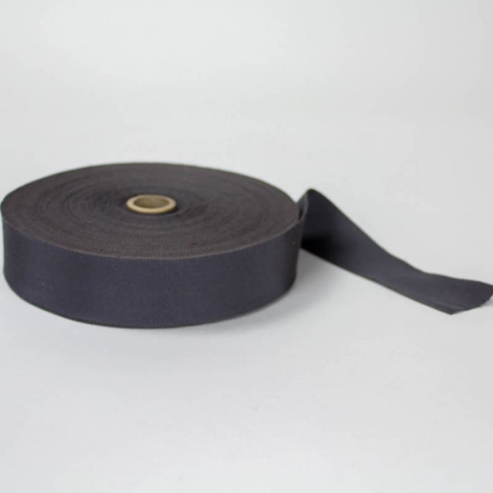 Charcoal Grey. Made in France. Blend of 44% rayon/ 56% cotton grosgrain belting with a saw-tooth edge.