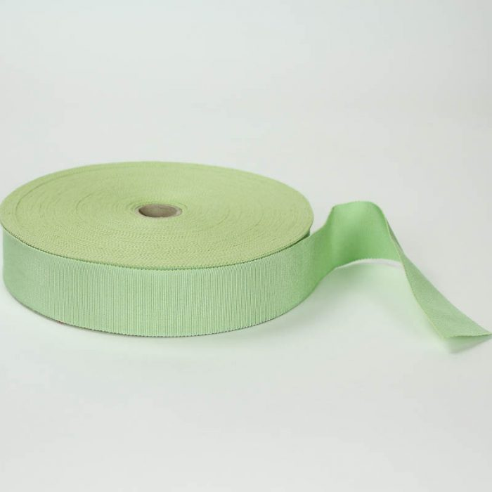 Mint Green. Made in France. Blend of 44% rayon/ 56% cotton grosgrain belting with a saw-tooth edge.