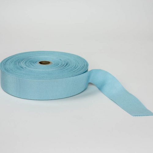 Sky Blue. Made in France. Blend of 44% rayon/ 56% cotton grosgrain belting with a saw-tooth edge.