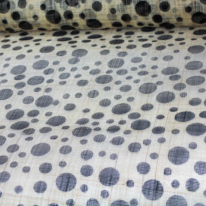 Black Dots on Natural sinamay.