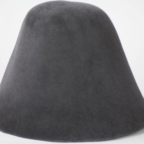Dark Charcoal hood, or cone shape, with velour finish on outside only. Plush velour velvet look on outer side