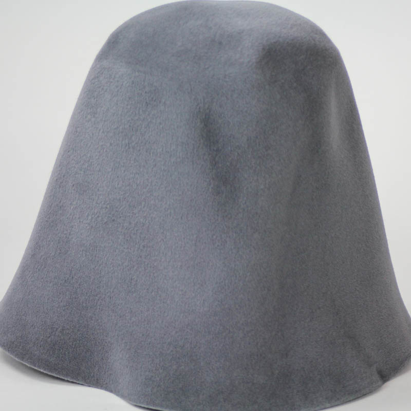 Slate Grey hood, or cone shape, with velour finish on outside only. Plush velour velvet look on outer side.