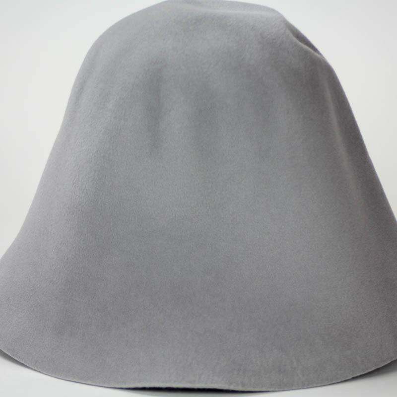 Light Grey hood, or cone shape, with velour finish on outside only. Plush velour velvet look on outer side.