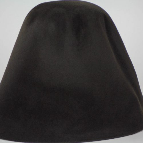 Dark brown, almost black, hood, or cone shape, with velour finish on outside only.