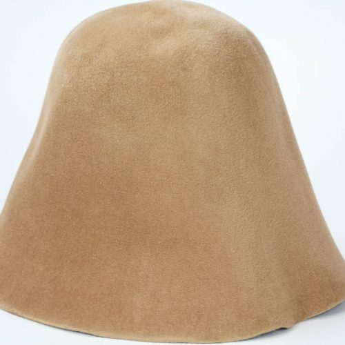 camel Brown hood, or cone shape, with velour finish on outside only.