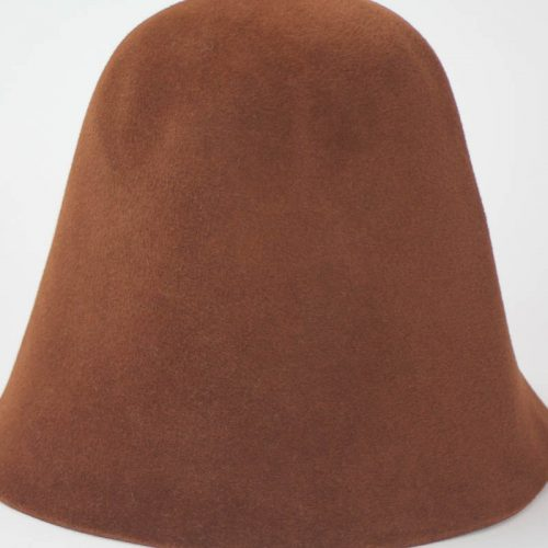 Spice brown hood, or cone shape, with velour finish on outside only.
