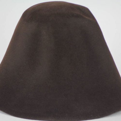 Deep Brown hood, or cone shape, with velour finish on outside only.