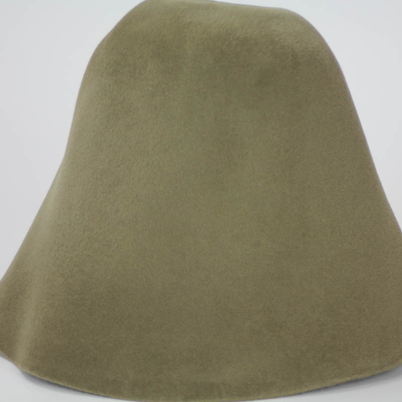 Khaki brown hood, or cone shape, with velour finish on outside only.