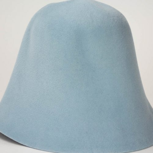 A pastel blue hood, or cone shape, with velour finish on outside only.