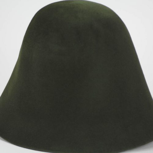 Forest green hood, or cone shape, with velour finish on outside only