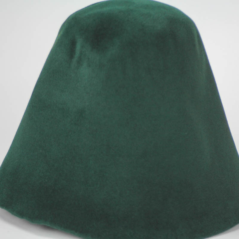 Hunter green hood, or cone shape, with velour finish on outside only