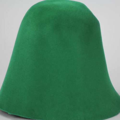 Bright green hood, or cone shape, with velour finish on outside only.