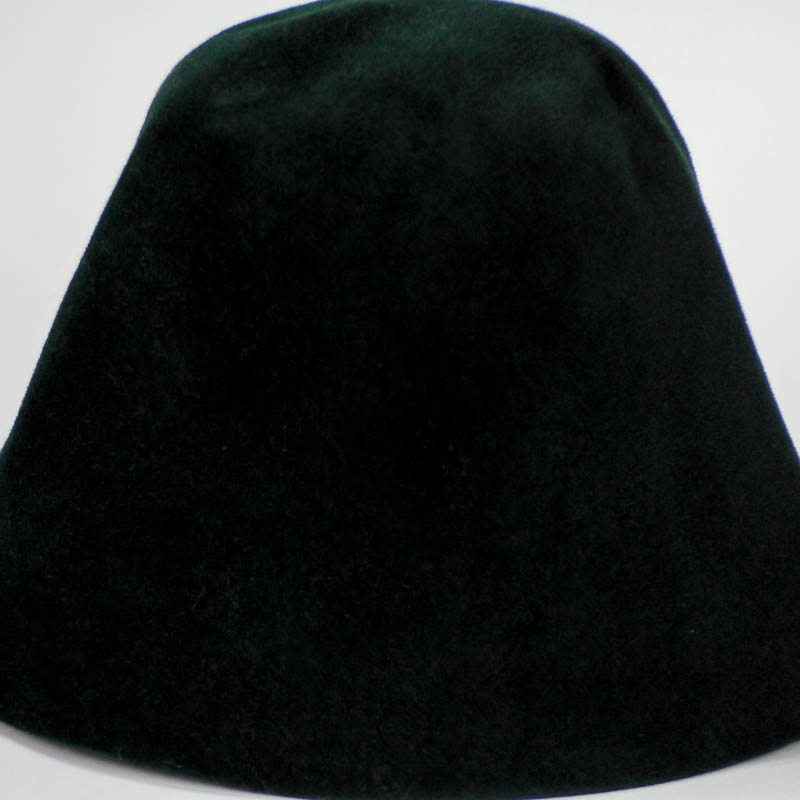 Very deep emerald green hood, or cone shape, with velour finish on outside only.