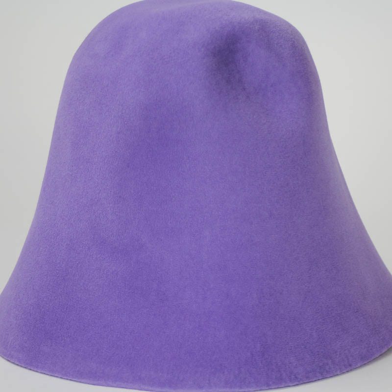 Lavender hood, or cone shape, with velour finish on outside only.