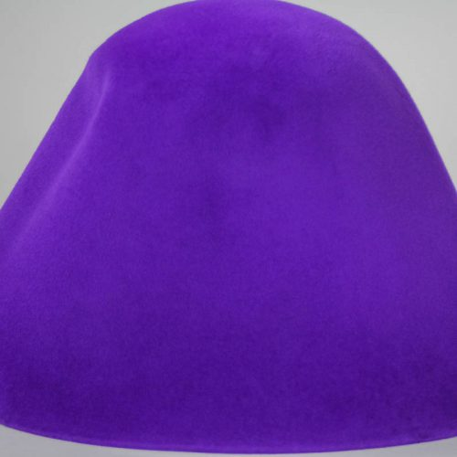Electric violet hood, or cone shape, with velour finish on outside only.