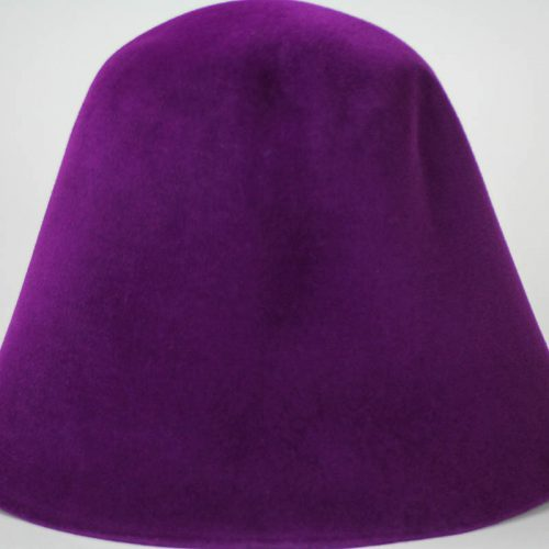 Red Violet hood, or cone shape, with velour finish on outside only.