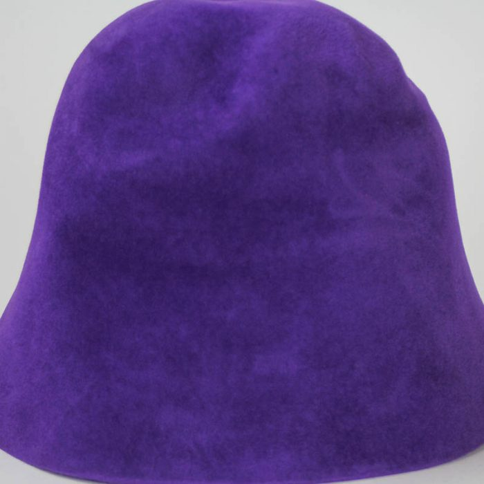 Bright Purple hood, or cone shape, with velour finish on outside only