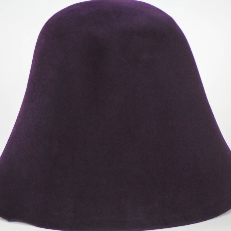 Deep eggplant hood, or cone shape, with velour finish on outside only.