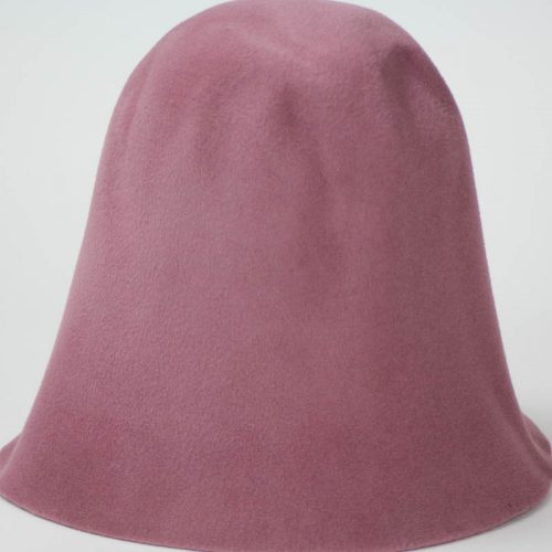 Old Rose hood, or cone shape, with velour finish on outside only.
