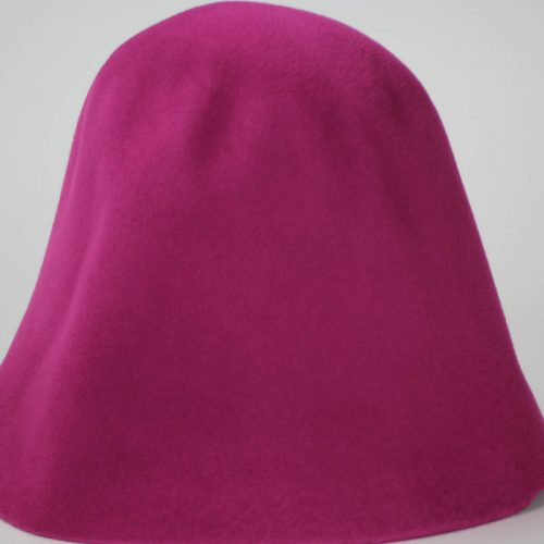 Magenta hood, or cone shape, with velour finish on outside only.