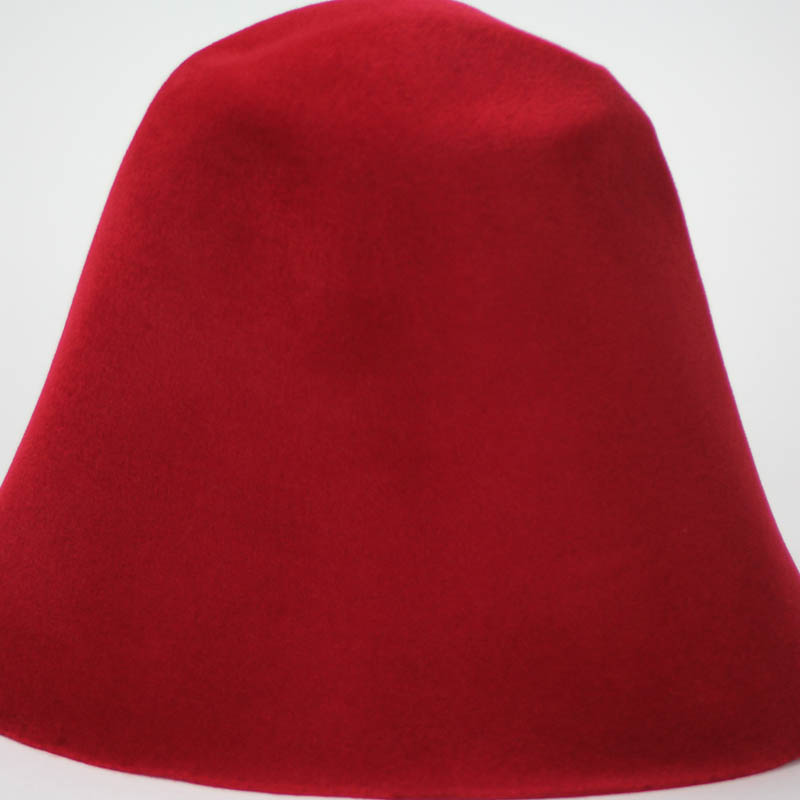 Deep Red hood, or cone shape, with velour finish on outside only.