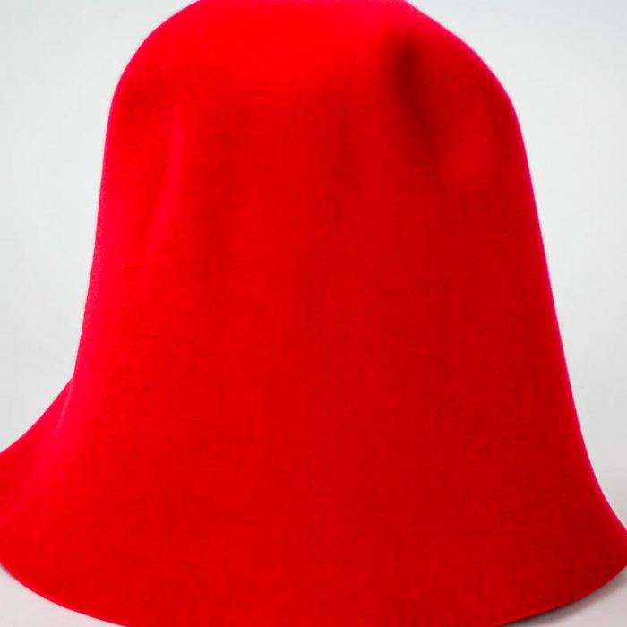 Bright Red hood, or cone shape, with velour finish on outside only.shape.