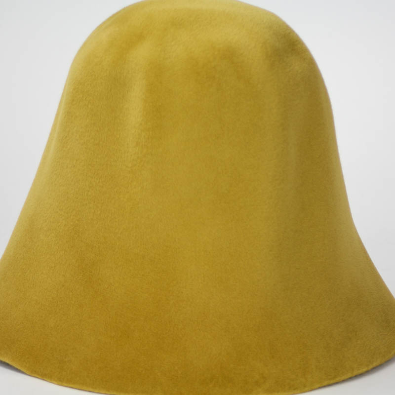 Desert Gold hood, or cone shape, with velour finish on outside only.