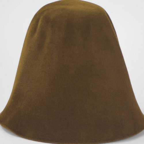 Bronze brown hood, or cone shape, with velour finish on outside only.