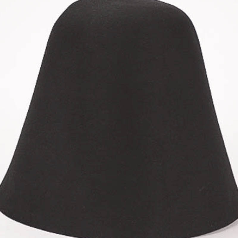Black hood or cone shape, 100% rabbit fur felt, excellent quality with standard felt finish.
