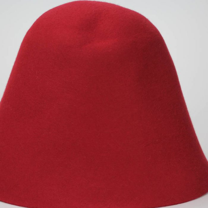 Deep Red color in 100% rabbit fur felt, excellent quality with standard felt finish.